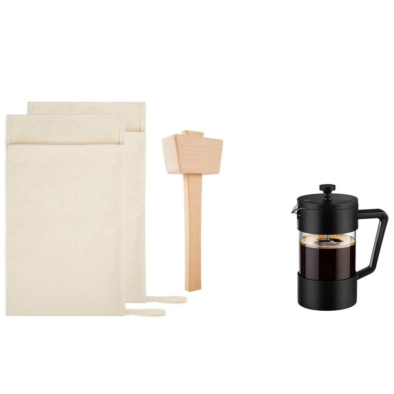 1 مجموعة الجليد مطرقة مجموعة-قابلة لإعادة الاستخدام قماش سحق أكياس الجليد مع مطرقة خشبية و 1 قطعة الصحافة الفرنسية القهوة ماكينة إعداد الشاي