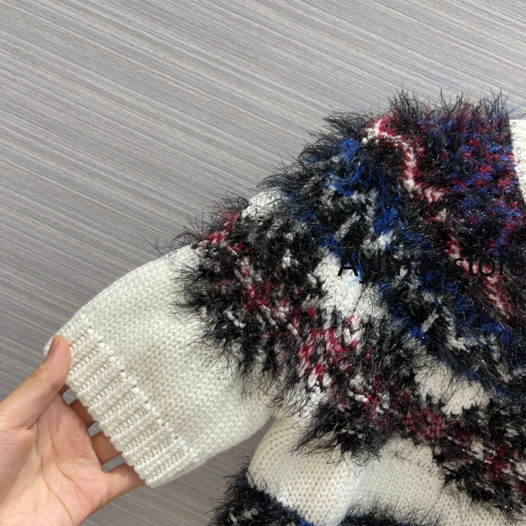 High quality 2021 autumn winter new Christmas snow tweed color knitted sweater women's short cashmere blended sweater T-shirt enlarge