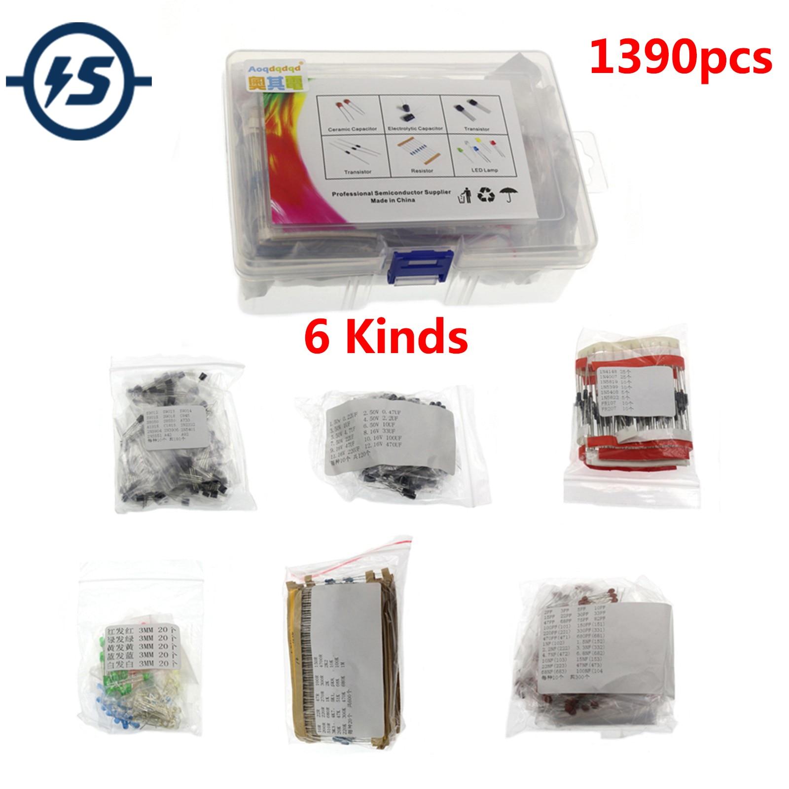 1390 قطعة 6 أنواع من مكونات حزمة محاصر المقاوم كهربائيا/السيراميك مكثف LED صمام ثلاثي