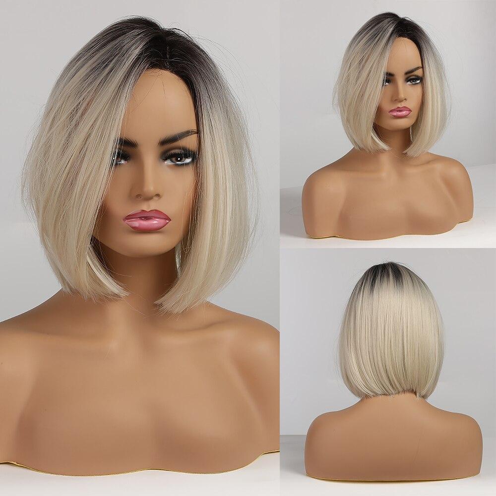Pelucas cortas rectas estilo Bob sintéticas de color marrón a Rubio claro parte lateral del pelo ombré para mujeres pelucas resistentes al calor Cosplay