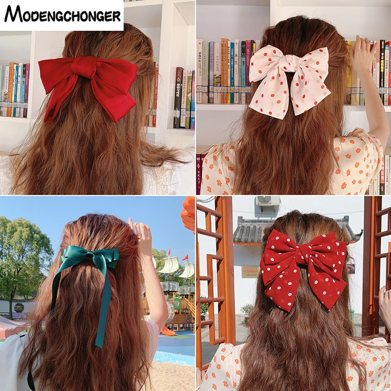 Korean Mode Großen Haarspange Bogen Haarnadel Für mädchen Damen Neue Lange Band fliege Chiffon Haar Clip Für Frau Haar zubehör