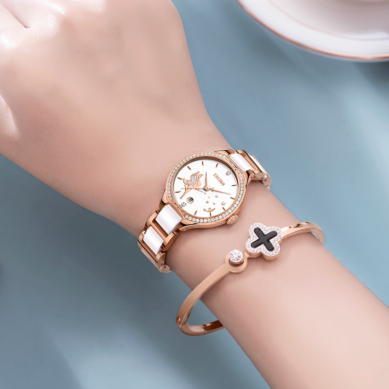 DOM Women Watches Fashion Ceramics Watchband Diamond Wrist Watch Top Luxury Brand Dress Ladies Geneva Quartz Clock G-1271G-7M2 enlarge