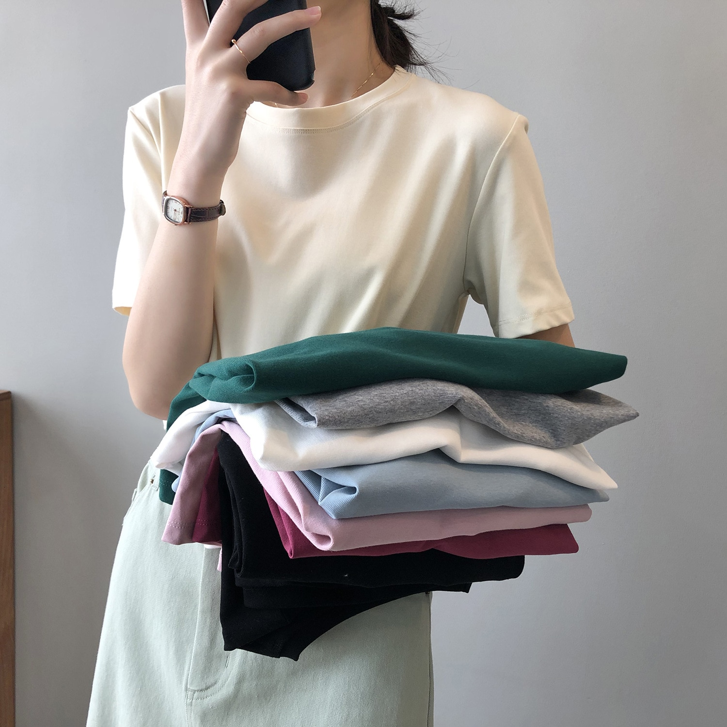 aliexpress.com - Pure color short-sleeved T-shirt women Women's cloth Korean version basic round neck loose white bottoming top all-match women