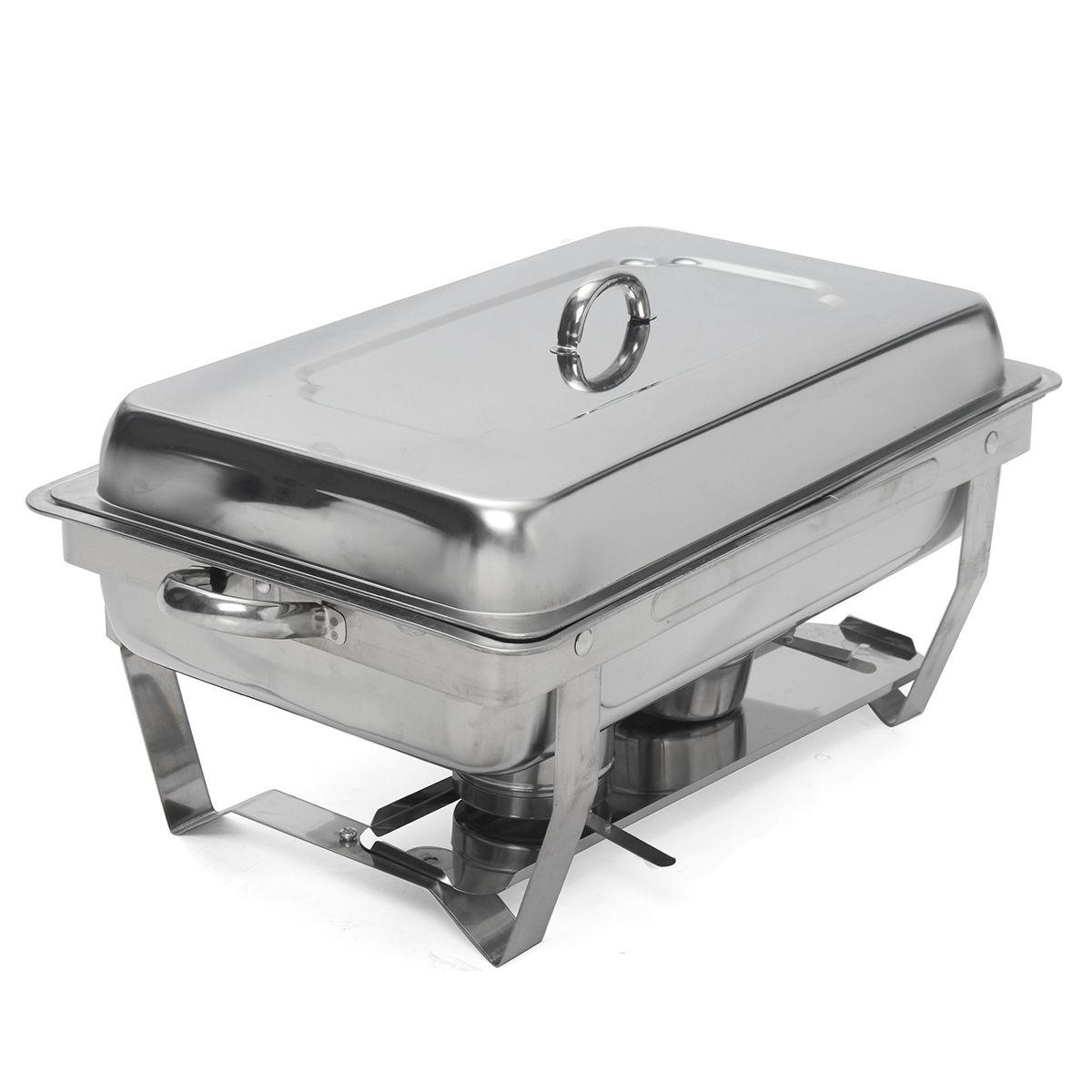 Plegable de acero inoxidable cuadrado hornillo para bufet plato contenedor calentador de comida de acero inoxidable Simple extracción hornillo para bufet