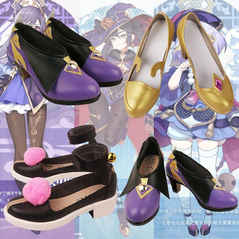 حذاء أميرات أنيمي جينشين تأثير Qiqi Keqing منى حذاء نسائي بنات وطالبات بكعب عالي أحذية كوسبلاي لييوي هاربور