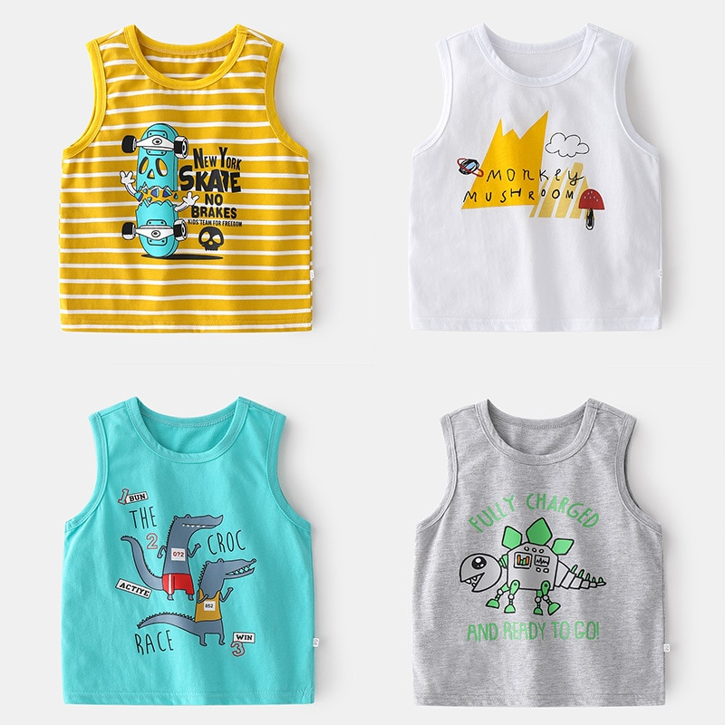 2017 new summer baby clothing set cotton cute pattern vest New Kids Boys Fashion Vest Cute Cartoon Print Short Sleeve Tank Tops Cotton Baby Boys Summer Casual O-neck T-Shirts Clothing