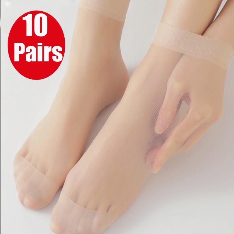 Летние шелковые прозрачные стеклянные носки 10 пар, женские крутые однотонные ультратонкие дышащие сексуальные кожаные носки, низкая цена, ...