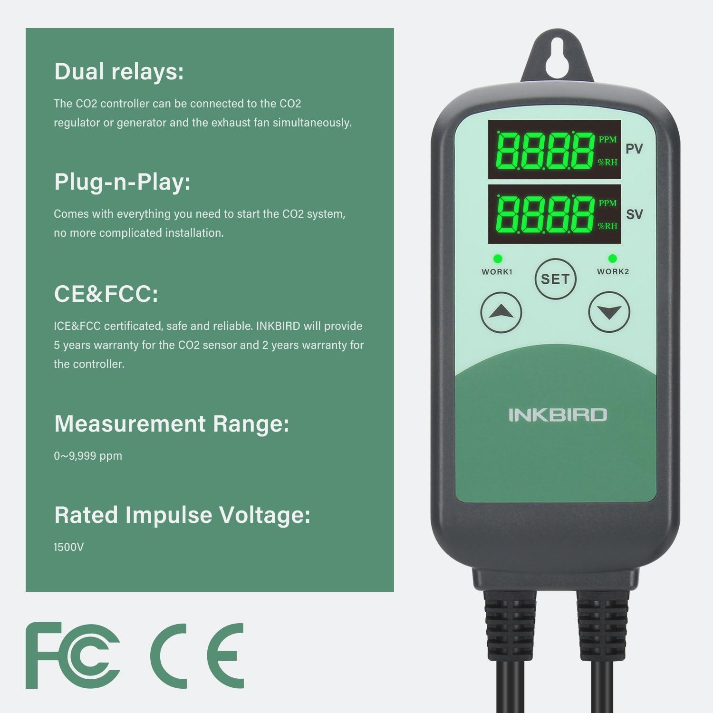 INKBIRD CO2 تحكم مع S01 NDIR الاستشعار عن نظام التهوية المنزلية ، وبناء التحكم و HVAC معدات كاشف الغاز متر