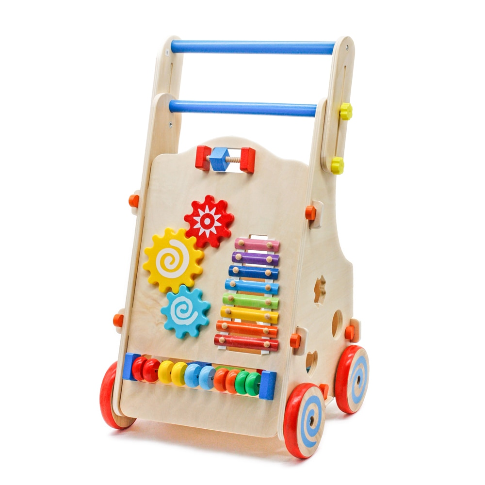 Multifunction Adjustable Wooden Baby Walker Toddler Toy With Multiple Activity Math Musical Game Learning Walk Activity Car Gift