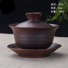 High Quality Teaset Elegant Gaiwan Chinese Tea Cup purple clay tureen High Capacity lid bowl saucer tea brew cup yixing teapot