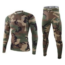 Men Winter Camouflage Thermal Underwear Sets Outdoor Quick Drying Tactical Long Johns Compression Fi