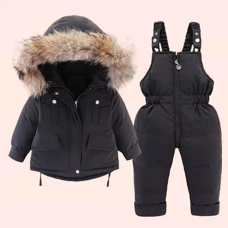 2pcs Set Baby Girl winter down jacket and jumpsuit for children Thicken Warm fur collar jacket for girls Infant snowsuit 0-4Year enlarge