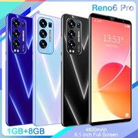 Оригинальный разблокированный сотовый телефон Reno6 Pro, полный экран 6,1 дюйма, 1 ГБ ОЗУ, 8 Гб ПЗУ, 4800 мАч, встроенная батарея