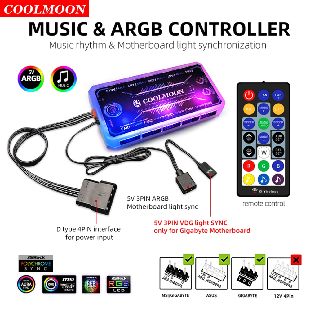 Coolmoon Smart Music 5V 3Pin ARGB Remote Controller HUB for Coolmoon 6Pin Chassis Cooling Fans 4Pin Light Strip Heat Dissipation