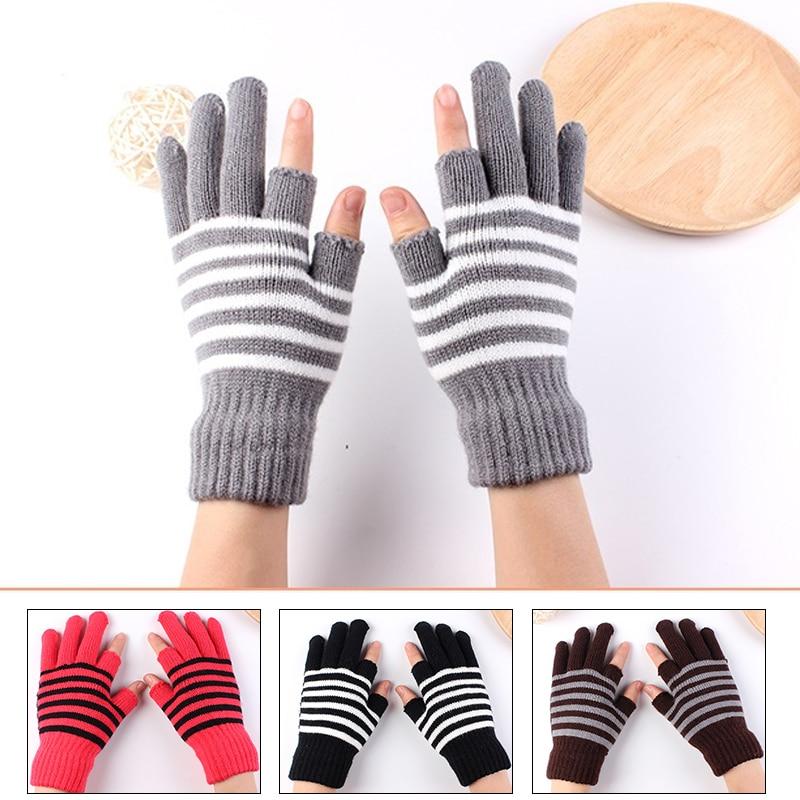 1 pair Unisex Knitted Winter Gloves Cashmere Knitted Autumn Winter Warm Thick Gloves For Women Men Skiing Gloves happtyl 1 pair winter men