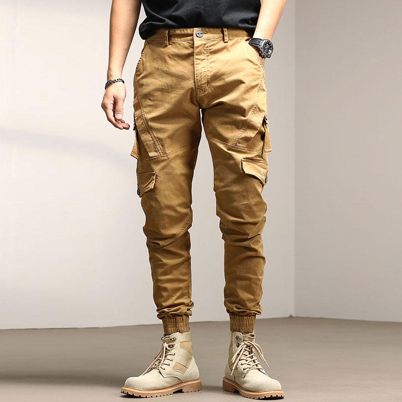 Джинсы мужские зауженные с множеством карманов, винтажные брюки-карго в японском стиле, Повседневная Уличная одежда, Джоггеры в стиле хип-х...