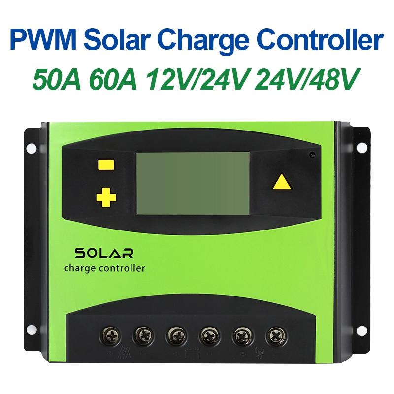 Reguladores de carga solar pwm pv, controlador de carregador solar, duplo usb 50a 60a12v 24v, bateria de identificação automática, tela lcd