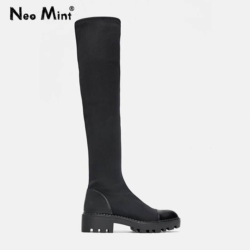 2021 тонкие эластичные сапоги до колена на платформе из лайкры теплые зимние сапоги на меху женские высокие сапоги Зимняя обувь Сапоги выше к...