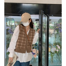 Women's Cardigan Spring and Autumn Loose Waistcoat Early Autumn V-neck Small Knitted Vest Coat