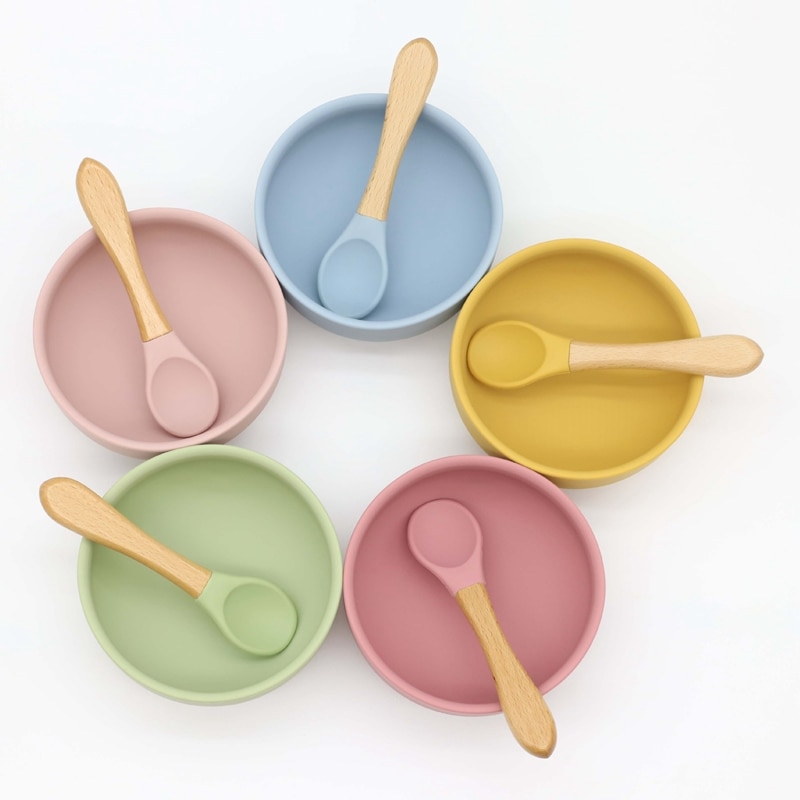 10Sets Food Grade Silicone Baby Bowl with Sucker Baby Feeding Training Tableware Set with Wood Handle Spoon enlarge