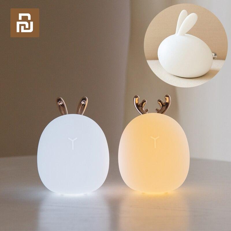 Youpin النظام البيئي سيليكون اللمس الاستشعار LED ضوء الليل للأطفال طفل أطفال الألوان 2 طرق أرنب الغزلان LED USB LED ليلة مصباح