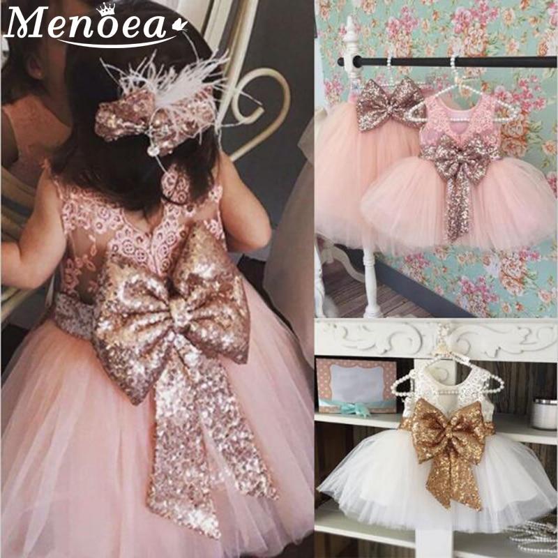 Menoea Chidren Princess Dress 2020 Summer Style Girl's Bow Design Party Dresses Kids Ball Gown For Girl Mesh Wedding Dress