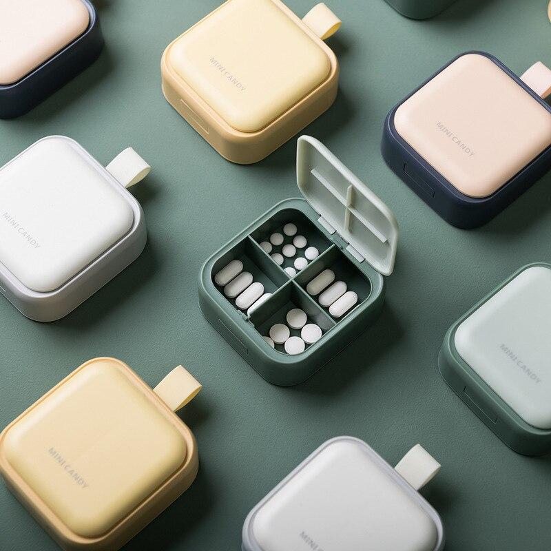 Four grid Daily Medicine Holder Pillbox Organizer Dispenser Medicine Storage Morandi Vitamins Container Case