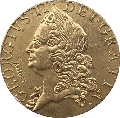 24 K chapado en oro 1754 Reino Unido 1 Guinea-George II copia de monedas