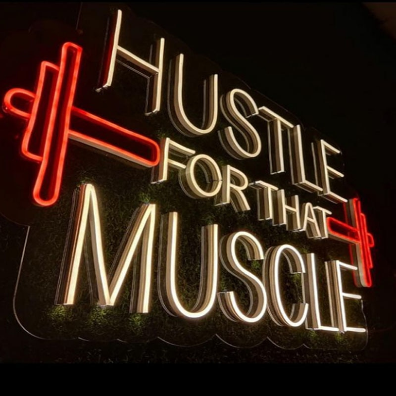 OHANEONK Neon Sign Light of HUSTLE for That Music LED Wall BackdropHanging Signs for Bedroom Room Party Home Decor Night Light enlarge