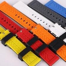 Hommes Silicone bracelet de montre Sport plongeur étanche bracelet en caoutchouc remplacement 20mm 22mm 24mm 26mm