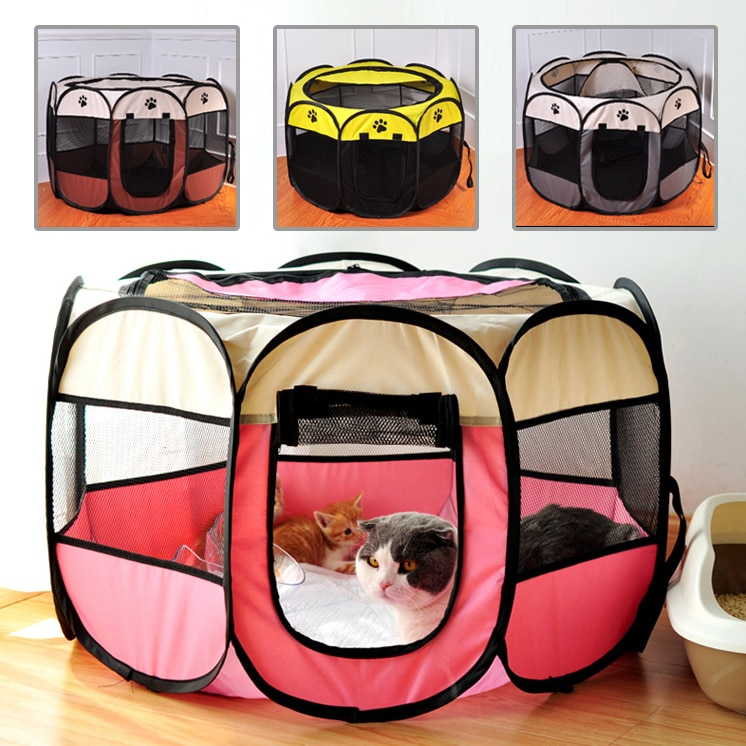 Perrera de cama para perros, jaula para exteriores para mascotas, cubierta de malla para interior, cajón para gatos, jaula para habitación, suministros para mascotas, tienda plegable para cachorros, corralito de juegos