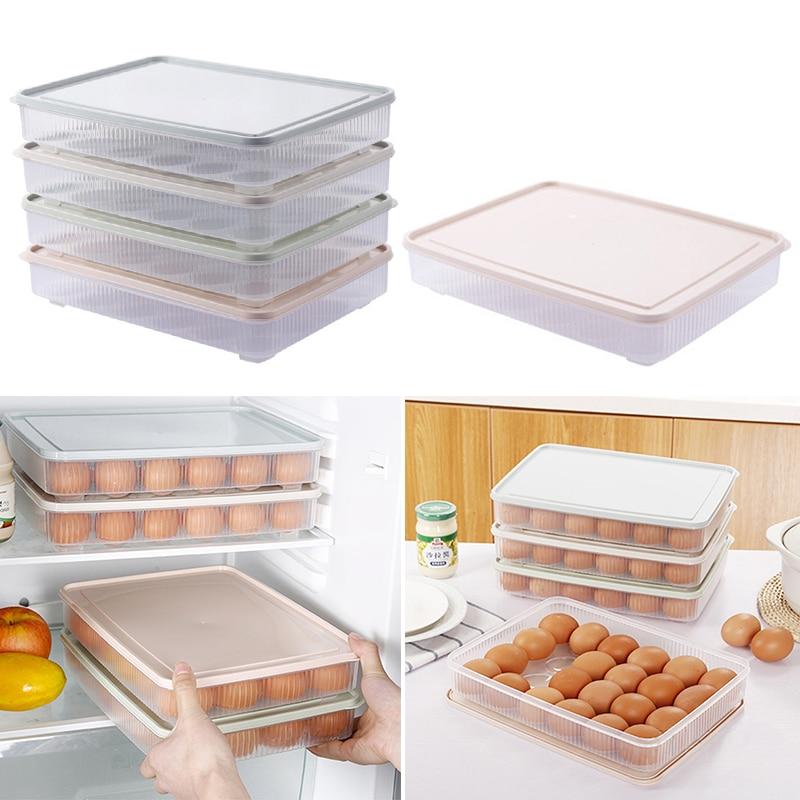 Контейнер для яиц 24 ячеек пищевого класса, органайзер, Кухонный Контейнер для хранения в холодильнике, коробка для хранения, пластиковая ко...