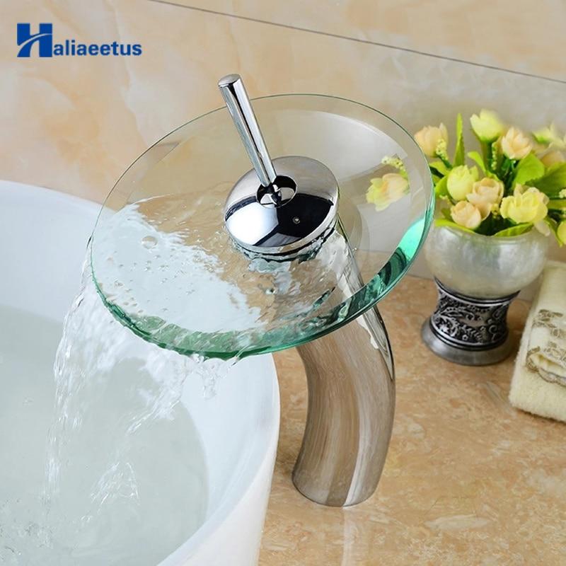 صنبور حوض شلال زجاجي على شكل فطر ، صنبور مياه شفاف ، خلاط حوض الحمام