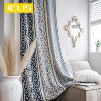 cotton linen printing american tassel bohemian style bedroomliving roomkitchen curtains country finished window semi transmiss
