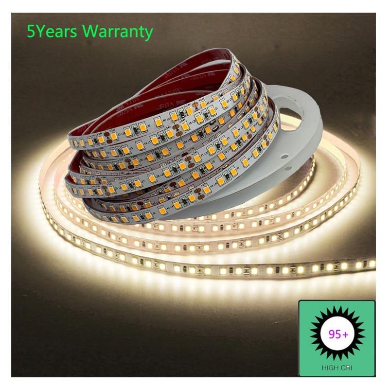 ارتفاع CRI 95 LED قطاع الخفيفة لغرفة 12 فولت 24 فولت الأبيض كول الأبيض الدافئة الأبيض الطبيعي الأبيض CCT LED قطاع 5 متر 600LED