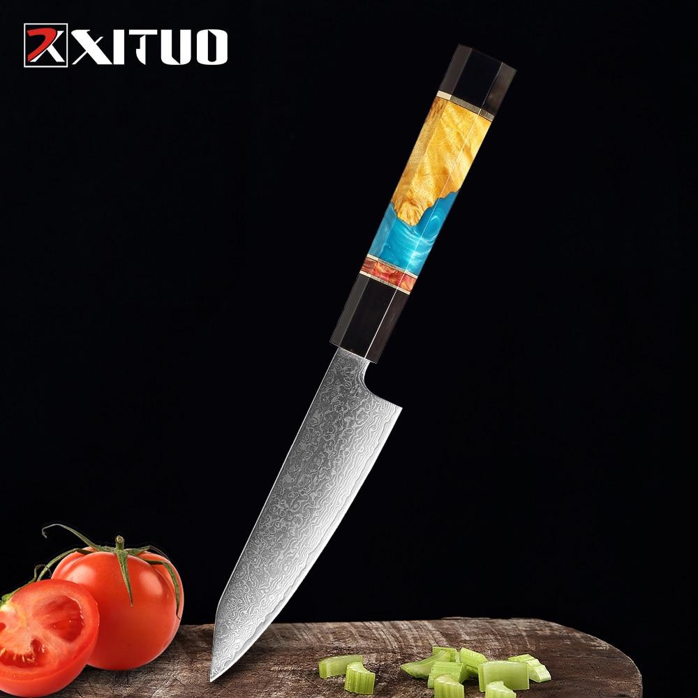 XITUO تقطيع سكينة فاكهة دمشق الصلب تقشير الخضروات سكين تقطيع اللحوم الأسماك السكاكين سكين ياباني مثمنة مقبض الطبخ
