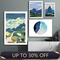 Toile de peinture nordique multicolore abstraite Alpine  affiches murales de montagne et decor de peinture sur toile  decoration de maison moderne