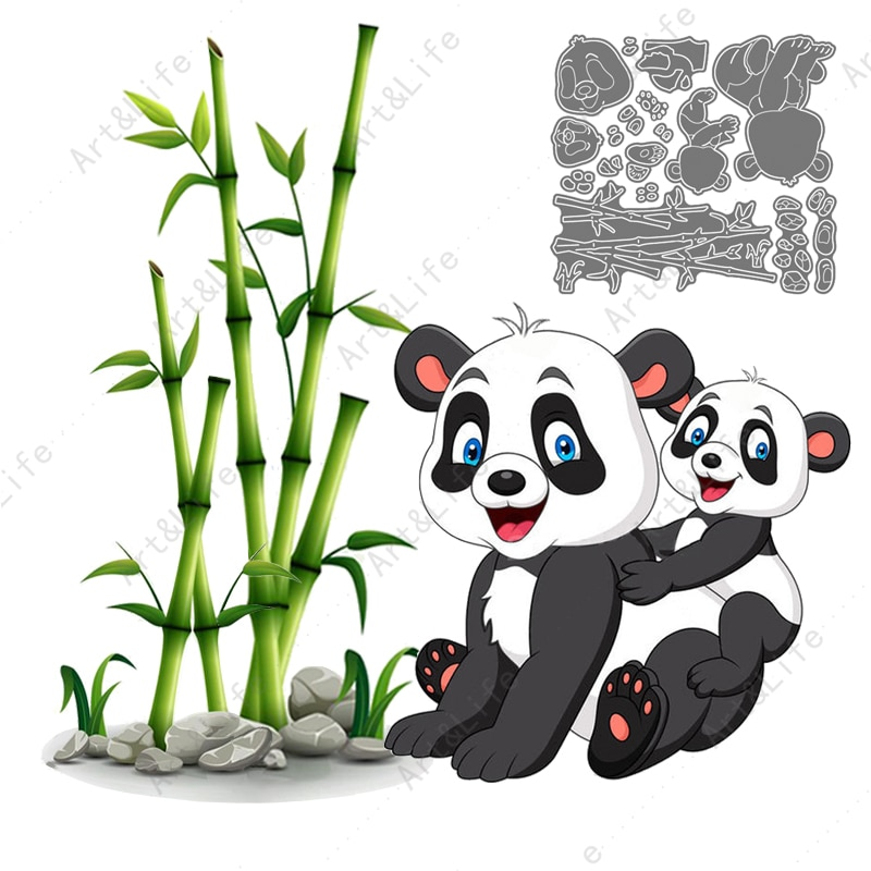 Cute Panda Hot New Metal Cutting Dies Stencils for Making Scrapbooking Album Father's Day Birthday Card Embossing Cut Die