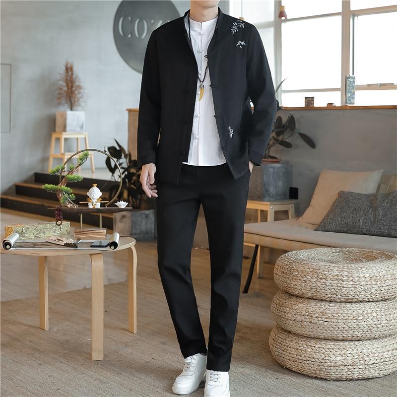 Chinese Retro Style Men's Suit Black Navy Blue Man Standing Collar Suit Two-piece Set Fashion Embroidery Men Suit Jacket + Pants