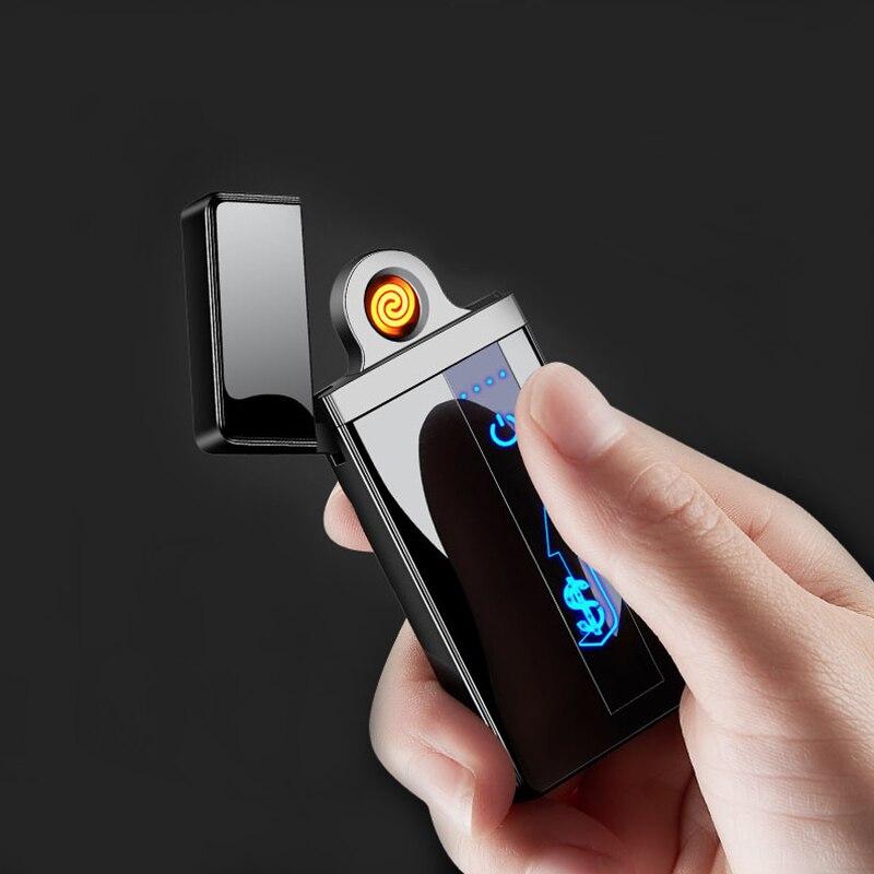 Encendedor de cigarrillos eléctrico con pantalla LED, resistente al viento y a prueba de viento, con carga USB