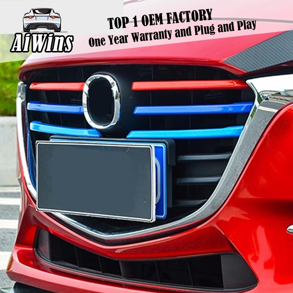 Aiwins cromo protector de rejilla delantera embellecedores tira accesorios para Mazda 3 Axela 2017 BN sedán Hatchback rejilla delantera cubiertas de molduras