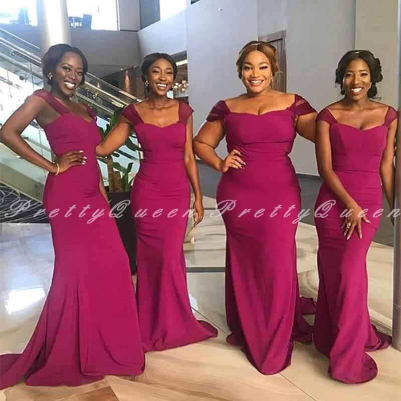 فستان إشبينة العروس طويل فوشيا حورية البحر بأكمام مغطاة ، فستان زفاف أفريقي ، بالجملة ، 2020