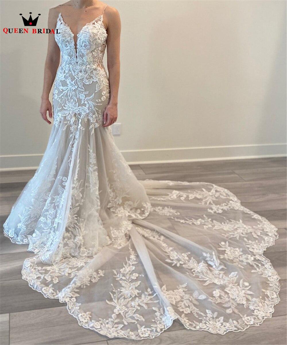فستان زفاف عتيق على شكل حورية البحر ، ظهر مفتوح ، ذيل طويل ، مصنوع من التول والدانتيل المطرز ، فستان زفاف مثير للنساء ، مقاس مخصص DK25