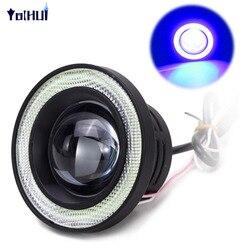 2 pçs 3200lm cob carro led anjo olhos nevoeiro lente luz do projetor anel de auréola xenon nevoeiro lâmpada