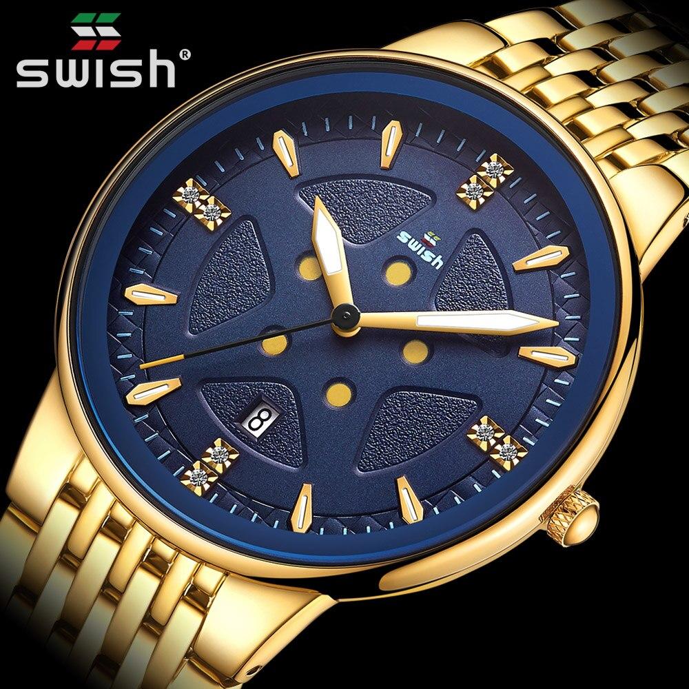 Top Golden Relogio Masculino Top Brand Luxury Men's Fashion Quartz Wrist Watch Full Steel Waterproof Business Dress reloj hombre