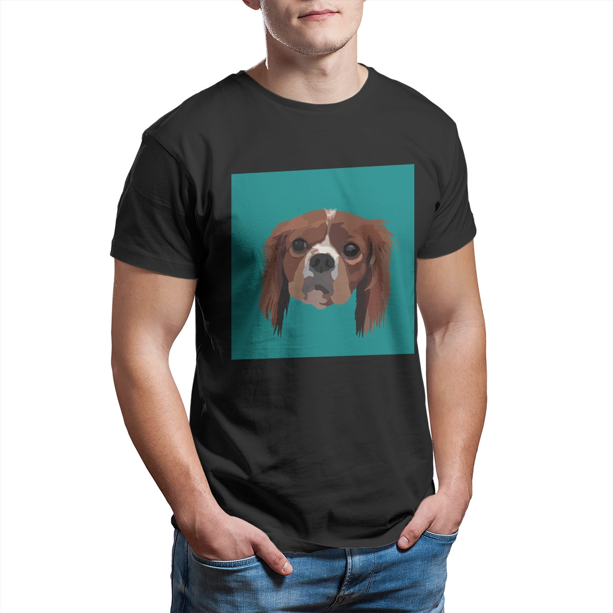 George the King Charles Spaniel T-Shirt Custom Games Punk Cute Sleeve Streetwear Tees 12511