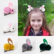 Carino capelli palla coniglio Clip di capelli ragazza peluche orecchie di coniglio clip di capelli 3D peluche coniglio accessori per capelli corea semplice ragazza copricapo