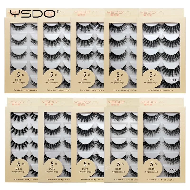 YSDO 5 pairs faux mink eyelashes thick lashes makeup dramatic 3d mink lashes natural false eyelashes extension faux cils cilios