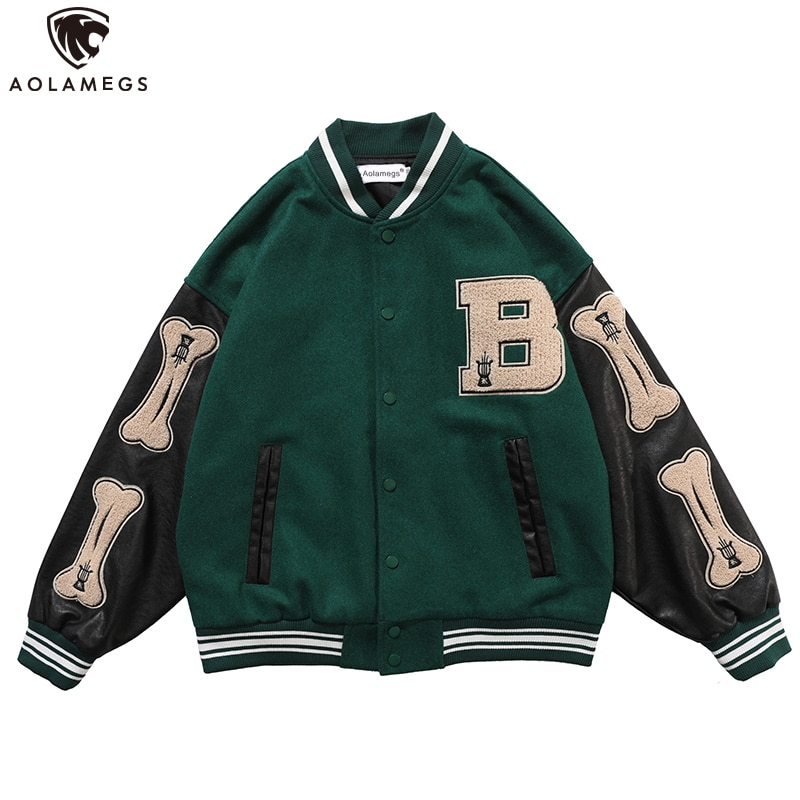 Aolamegs Furry Bone Letter Patch Color Block Patchwork 3 color Optional Harajuku College Style Bomber Jacket Men Baseball Coats