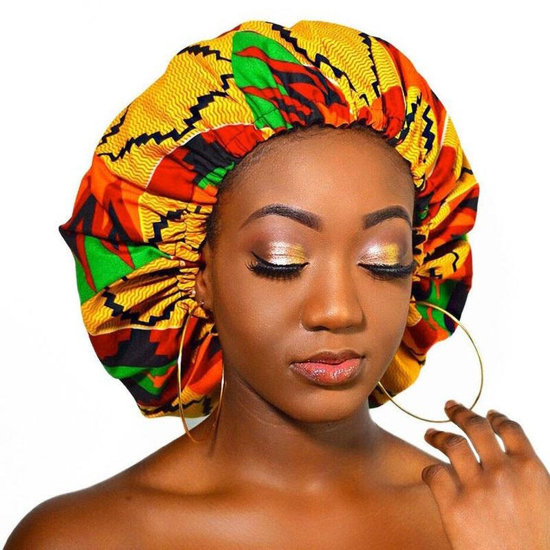 New Extra Large Satin Lined Bonnet Women Big Size Beauty Print Satin Silk Bonnet Sleep Night Cap Hea
